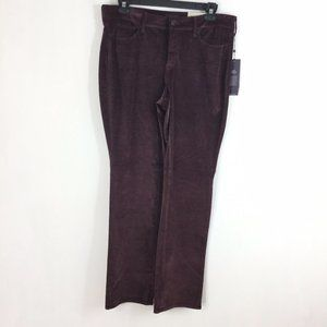 NYDJ Pants Marilyn Straight Maroon Burgundy Velvet